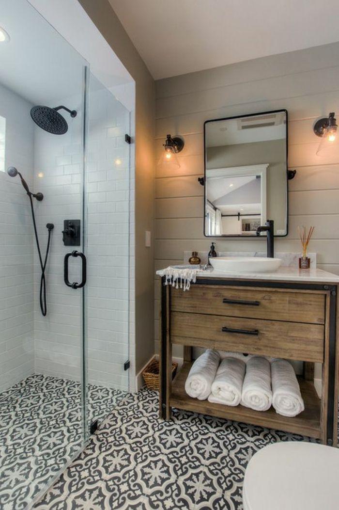 ide dcoration salle de bain u salle de bain cocooning lambris mural bois blanc carrelage blanc - Lambris Mural Salle De Bain