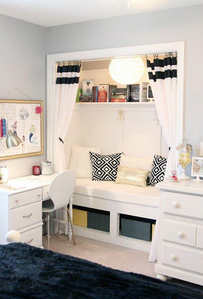 Emejing chambre ado fille blanche contemporary design - Chambre ado fille noir et blanc ...