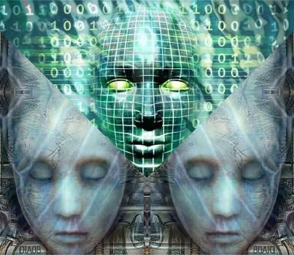 Three Cyberheads. Artificial Intelligence. After Dia Sobin.