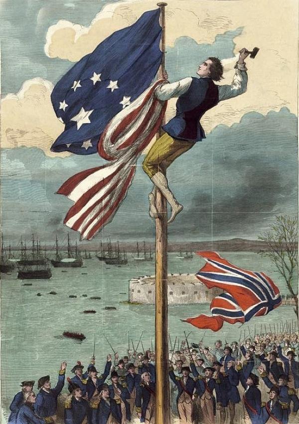 Evacuation-Day Raising-The-American-Flag Fort-George