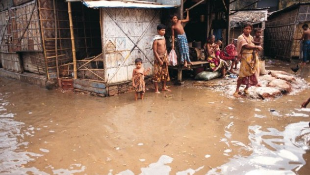 Floodwaters surrounding houses in Dhaka, Bangladesh