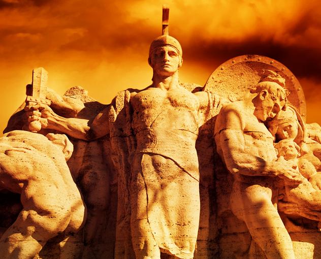 Warrior with a sword statue on the Vittorio Emanuel bridge (Rome