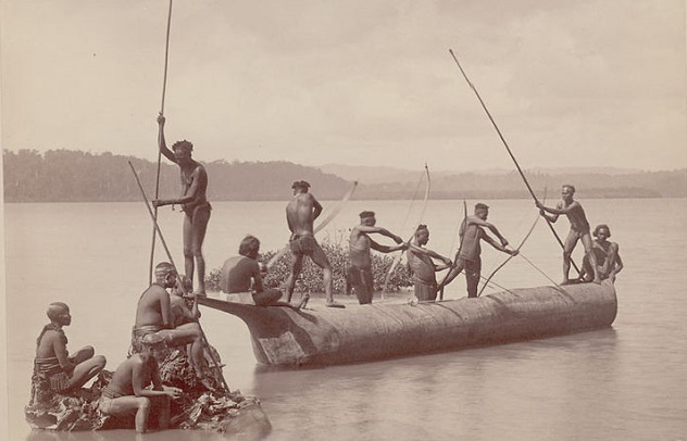 741px-Group_of_Andaman_Men_and_Women_in_Costume,_Some_Wearing_Body_Paint_And_with_Bows_and_Arrows,_Catching_Turtles_from_Boat_on_Water
