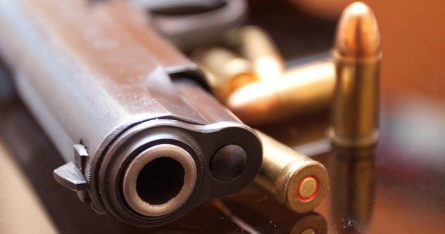 Hand gun with bullets around