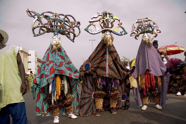 Masquerade parade on Christmas in Nigeria