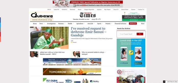 premiumtimes is one of the most popular news website in Nigeria