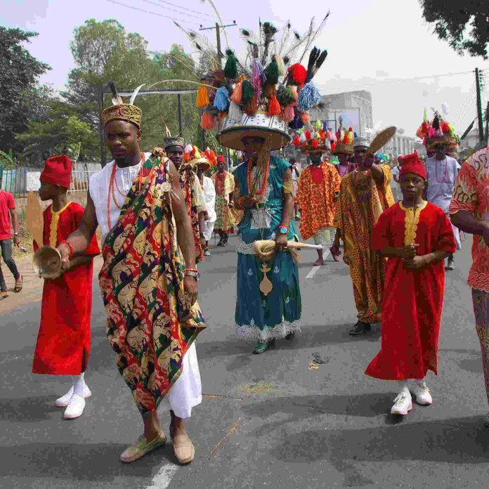 Culturap March past at the Golibe Festival Onitsha