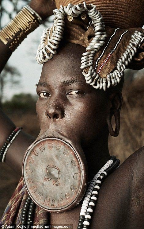 African tribal lip plates body modification