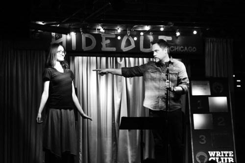 Lindsay Muscato and Write Club Overlord Ian Belknap/Photo: Evan Hanover