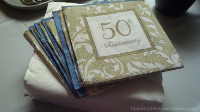 Are those wedding anniversary napkins, I asked? They work, she replied.