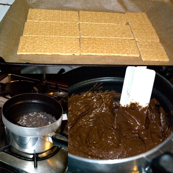 graham crackers, melting chocolate