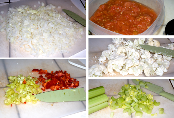 chopped onion, celery, pepper, tomatoes, cauliflower