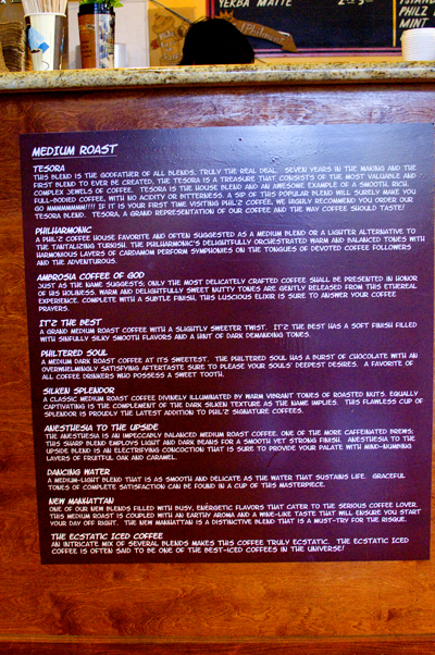 Philz medium roast menu