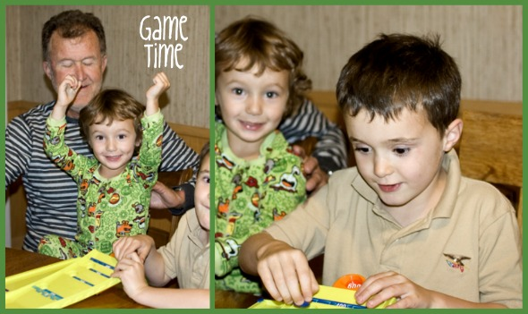 the boys playing board games
