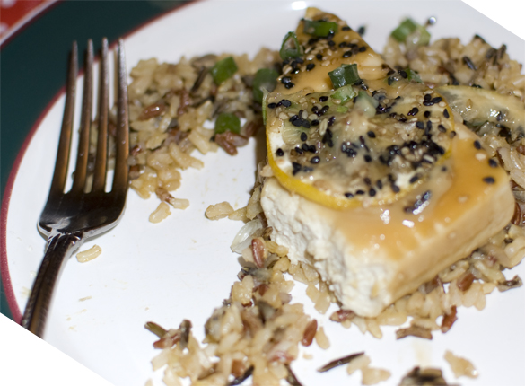 miso glazed tofu served over wild rice