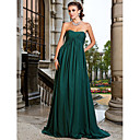 A-line Strapless Sweep/Brush Train Chiffon Evening/Prom Dress (1617467)