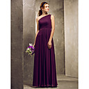 Sheath/Column One Shoulder Floor-length Chiffon Bridesmaid Dress (722118)
