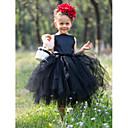 Ball Gown Bateau Tea-length Satin And Tulle Tutu Dress/Flower Girl Dress With Flower