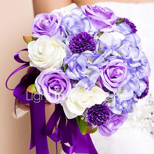 Wedding Flowers Round Roses Bouquets Wedding Silk Purple