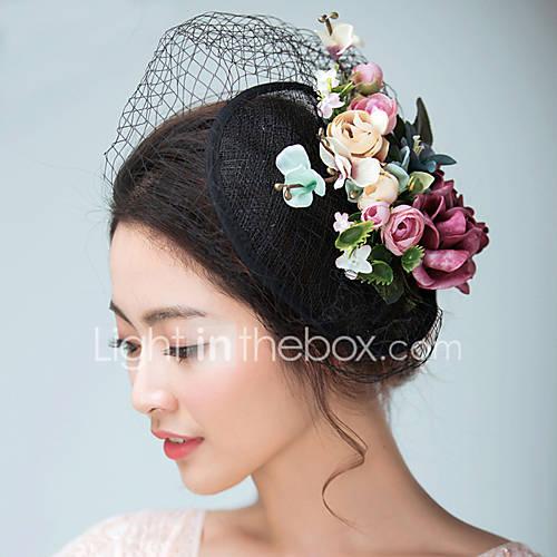 Womens Satin Flax Headpiece Wedding Special Occasion
