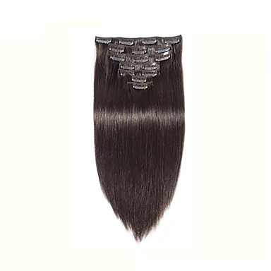 100 real indian human hair extensions clip in african american human hair weft straight black 8