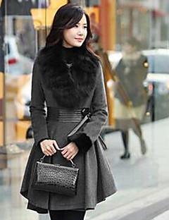 Feminino Casaco de Pêlo Casual Moda de Rua Outono / Inverno, Sólido Cinza Pêlo SintéticoManga Longa