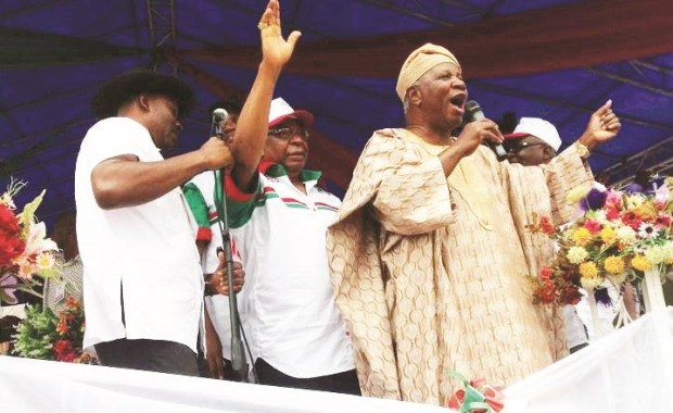 Agagu speaking at a political rally in Ondo State. Source: The Nation