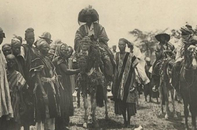 Alaafin (Oba) of Oyo Adeyemi Alowolodu I (horseback) with his entourage, circa late 1890s
