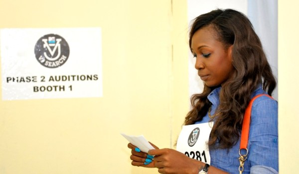 Contestant checks her lines at MTV VJ search audition. Social Facilitation theory states that she will perform better than when alone