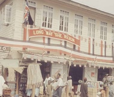 """Ereko Market, Lagos during Queen Elizabeth II visit to Nigeria in 1956 photo by Carl Mydans"