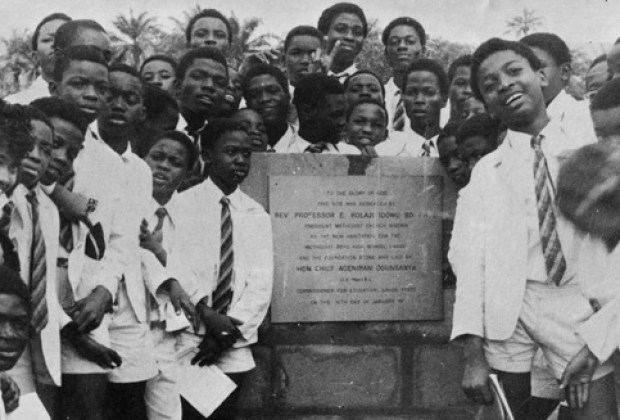 MBHS Laying the foundation stone for new school 1975