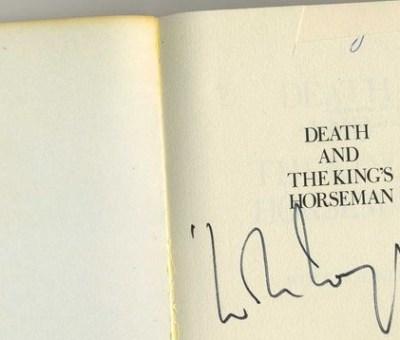 Wole Soyinka's signed copy of Novel adapted from Duro Ladipo's Oba Waja