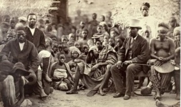 G.W. Johnson with the chief of Abeokuta and other comradsc.1880.