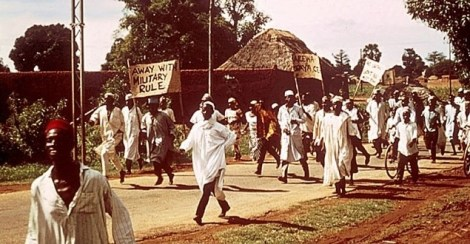 Demonstration in Zaria after the first Nigerian coup in 1966