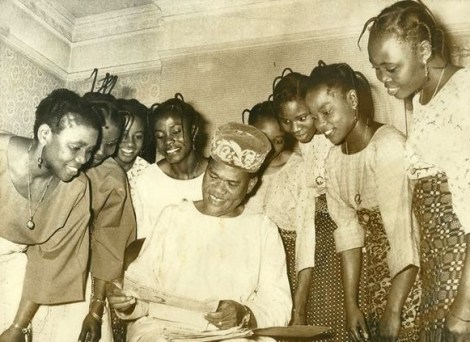 Ogunde and wives; all members of his theatre company