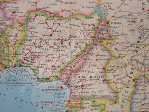 The British Cameroons are subsumed into Nigeria in this 1960 map by George Cram. British Cameroons boundaries are marked with darker pink lines in eastern Nigeria.