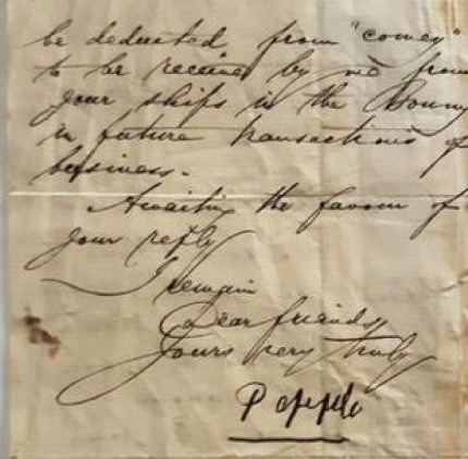 William Dappa Pepple letter in 1860