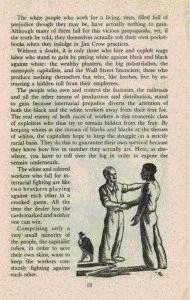 """Figura 4 – Al final de la pág.13 se lee: """"Comprendiendo apenas una pequeña minoría de las personas, los gobernantes capitalistas, a fin de salvar sus propias pieles, quieren mantener a los trabajadores constantemente luchando unos contra otros"""", decía la publicación del SWP[7]. Nótese, en la ilustración, al capitalista insatisfecho con la unidad de los trabajadores blancos y negros."""