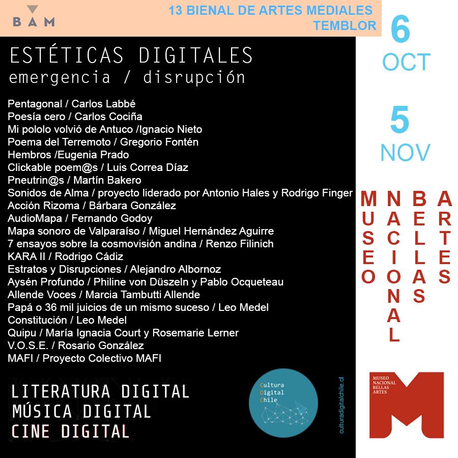 """Muestra """"Estéticas Digitales"""" en Bienal de Artes Mediales- Chile"""