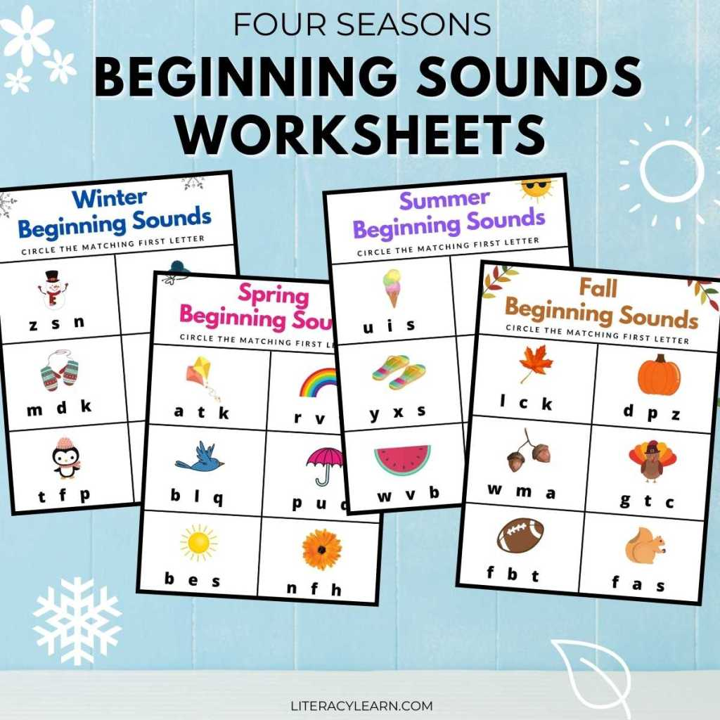 """Four worksheets on a blue background with large text that reads """"Four Seasons Beginning Sounds Worksheets."""""""