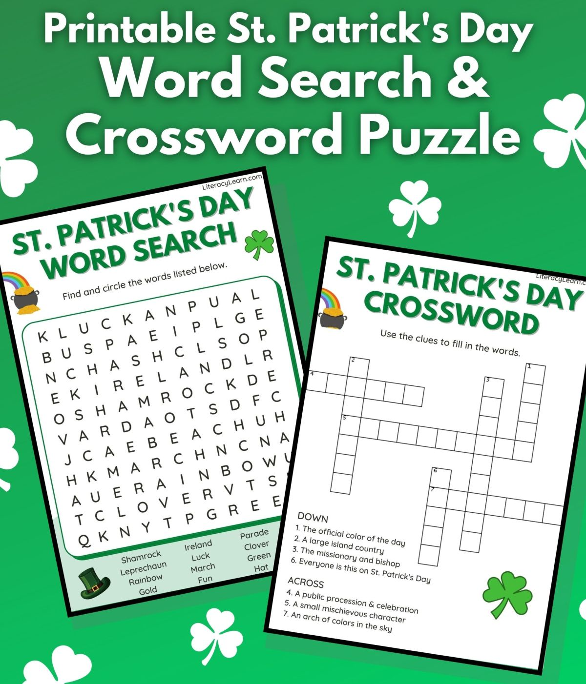 "Graphic with the word search and crossword pdfs on a bright green background and text that reads ""Printable St. Patrick's Day Word Search and Crossword."""