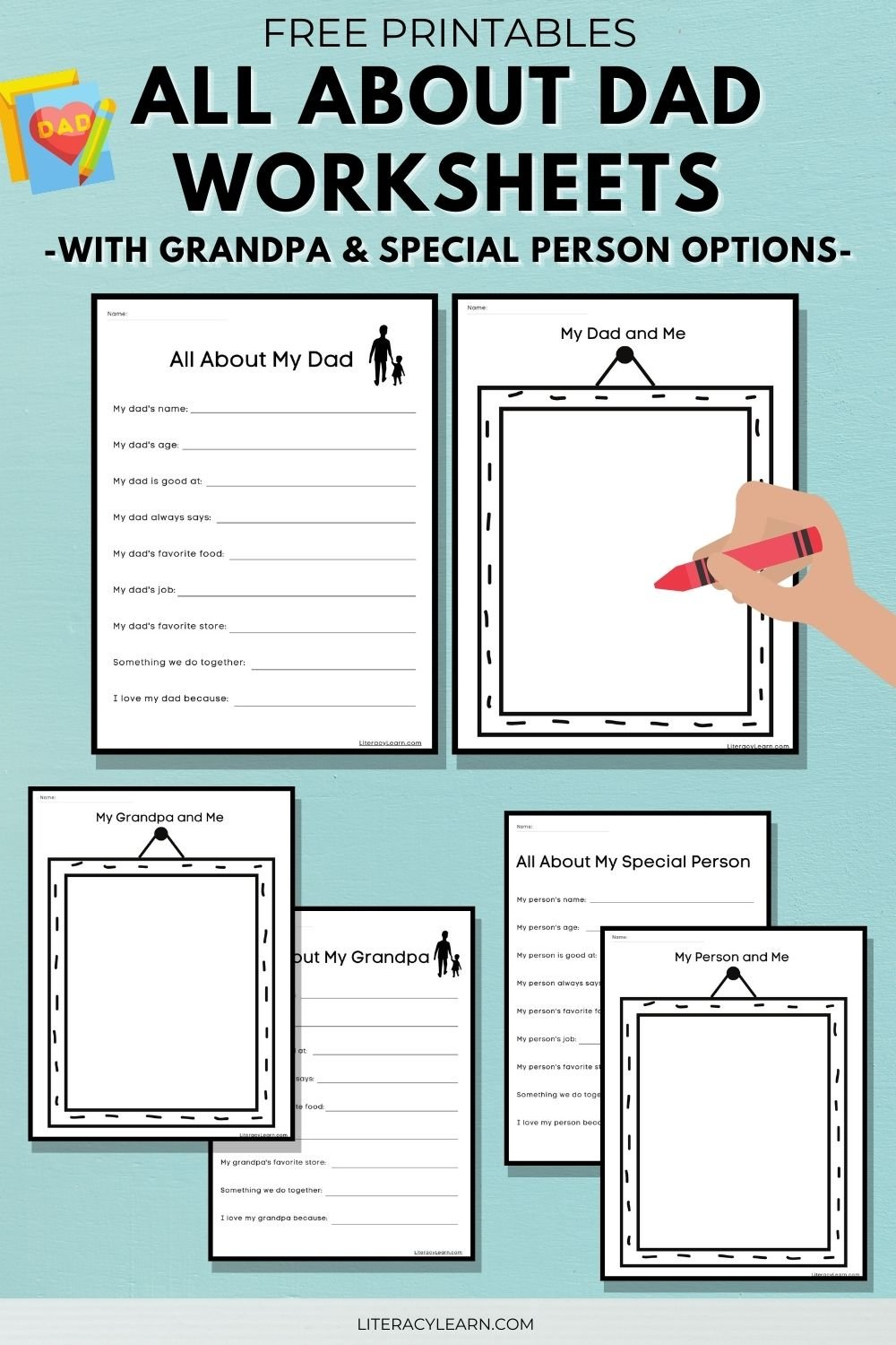 """Pinterest graphic showing the all about my dad and my dad and me worksheets with the words """"Free printables- All about Dad worksheets with grandpa and special person options."""""""
