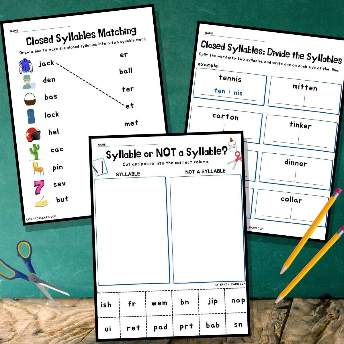 Graphic showing three of the closed syllables worksheets beside pencils and a pair of scissors.