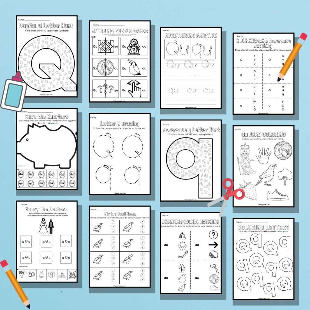 13 Q worksheets for Preschool on a blue background.