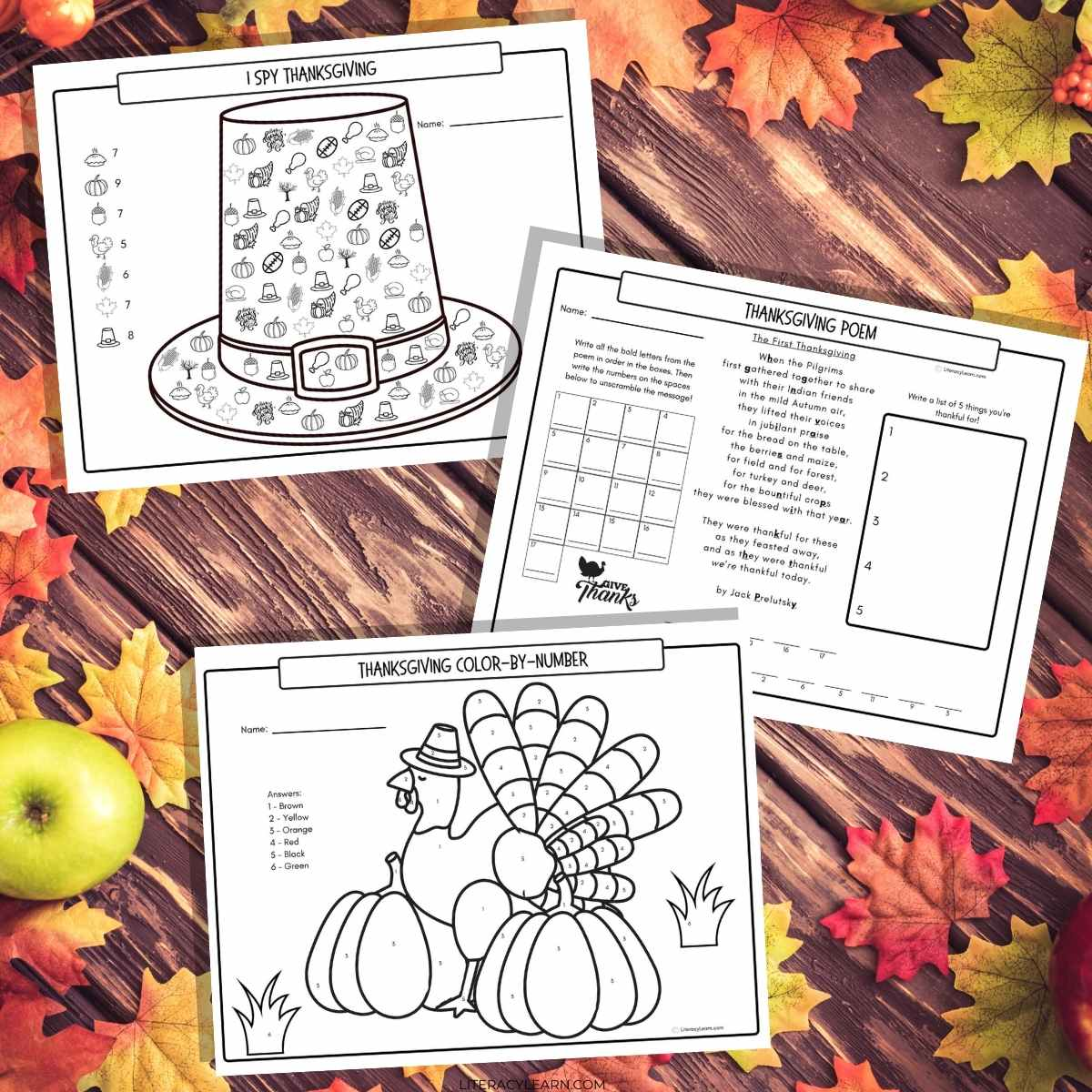 Graphic with the three Thanksgiving printable activity sheets on a wooden background surrounded by bright colored leaves.