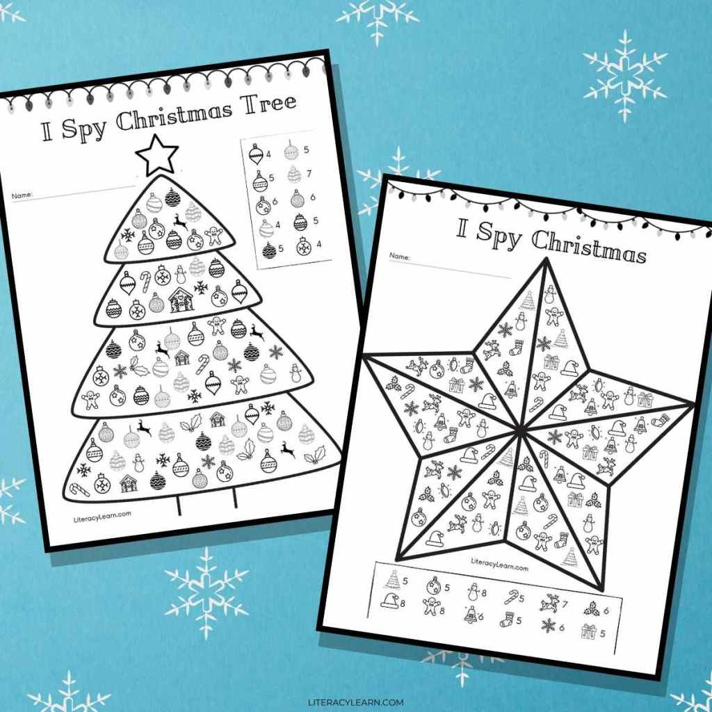 Two Christmas themed I Spy printable worksheets on a blue, snowy background.