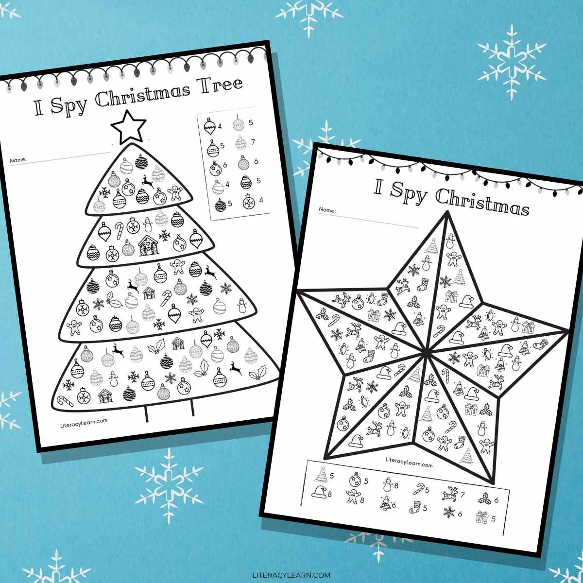 The two I Spy Christmas printables on a blue background, surrounded by white snowflakes.
