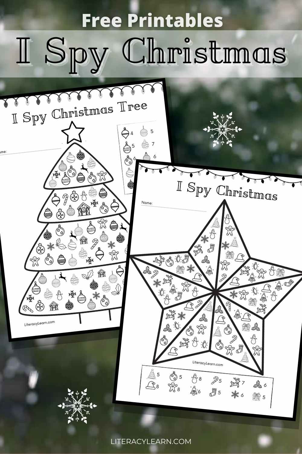 """Graphic with the two printable worksheets on a snowy background with the text, """"Free Printables, I Spy Christmas."""""""