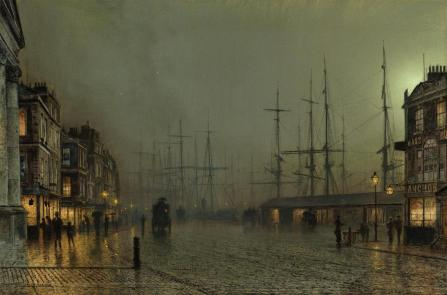 John Atkinson Grimshaw – private collection? Title: The Broomielaw, Glasgow. Date: 1886. Materials: oil on canvas. Dimensions: 62 x 91 cm. Source: http://www.artscroll.ru/Images/2008/j/John%20Atkinson%20Grimshaw/000031.jpg.