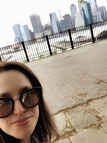 Picture of myself on the Brooklyn Promenade. NYC skyline.